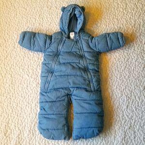 Baby Gap 0-3M Baby Blue Bear Winter Snow Suit